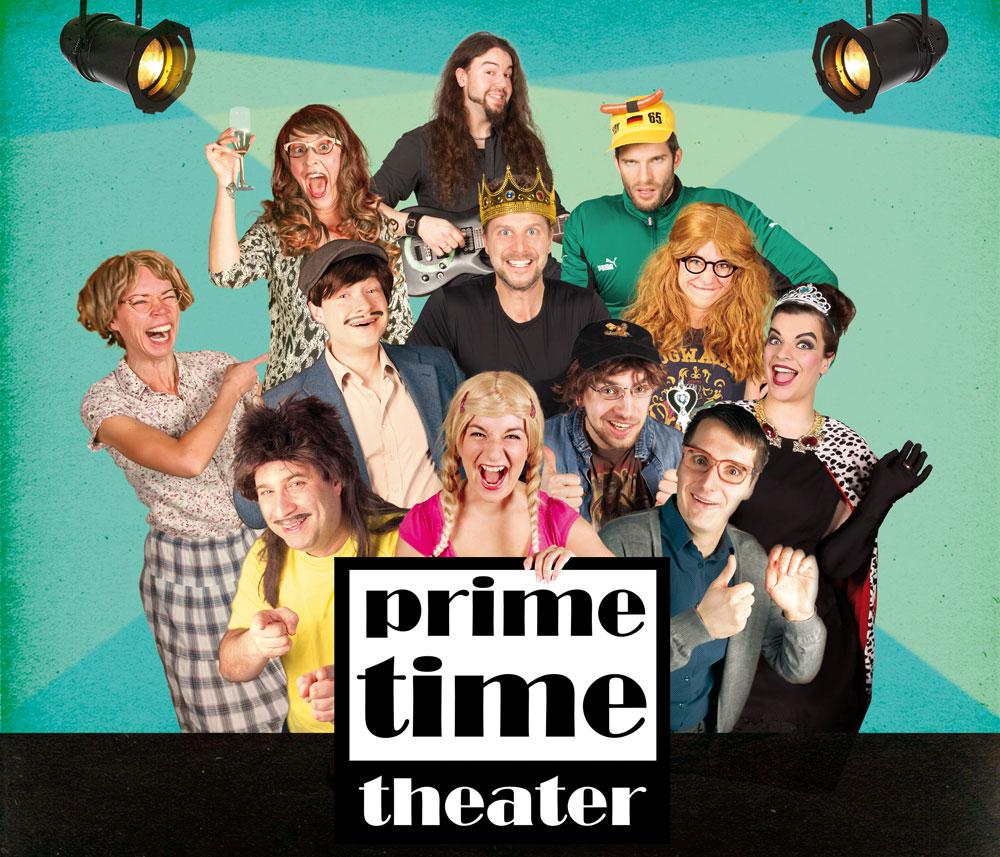 Das Bild zeigt die Darsteller des Prime Time Theaters in typischen Kostümen